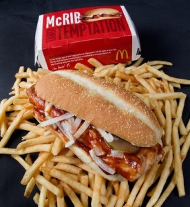 A photo of a McDonalds' McRib sandwich