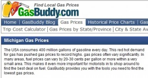 Screenshot of GasBuddy.com