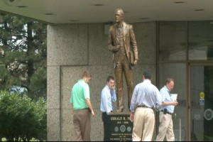 Ford Museum unveils new statue of President Gerald Ford