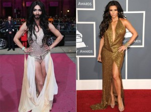 side by side comparison of Conchita and Kim