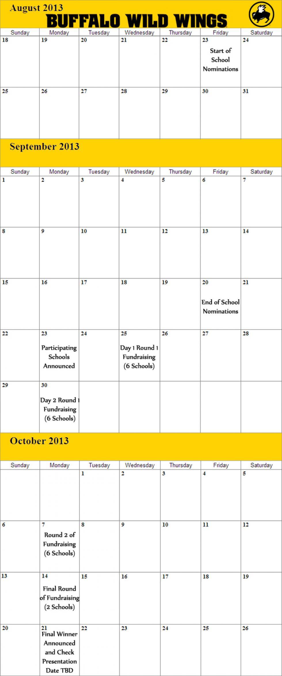 Buffalo Wild Wings School Fundraiser Challenge Calendar Of Events