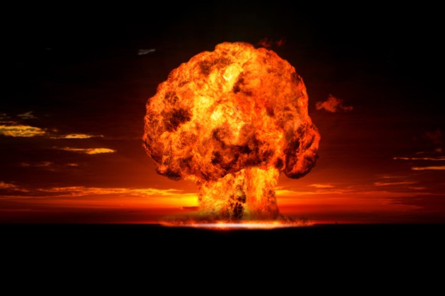 Nuclear explosion in an outdoor setting.