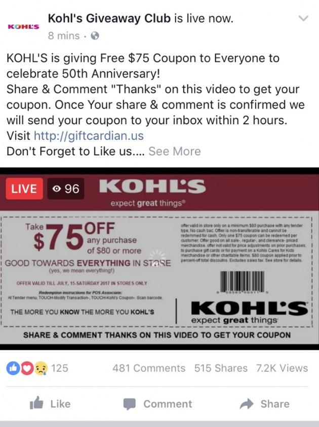 Kohl's Giveaway Club via Facebook